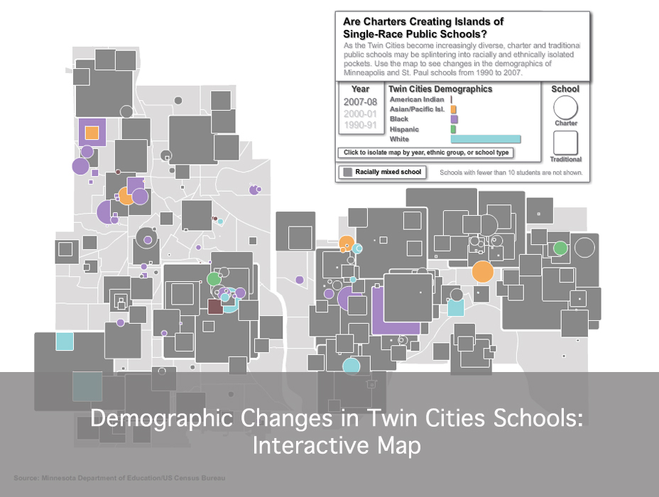 See how the demographics of charter and traditional public schools in the Twin Cities have changed since 1990.
