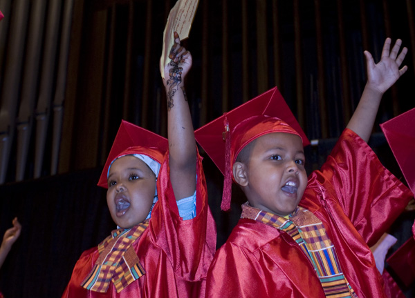 Kindergarten students graduate from Higher Ground Academy, an Afro-centric charter school in St. Paul, Minn.  PHOTO: CLAIRE MOSES / NEWS21